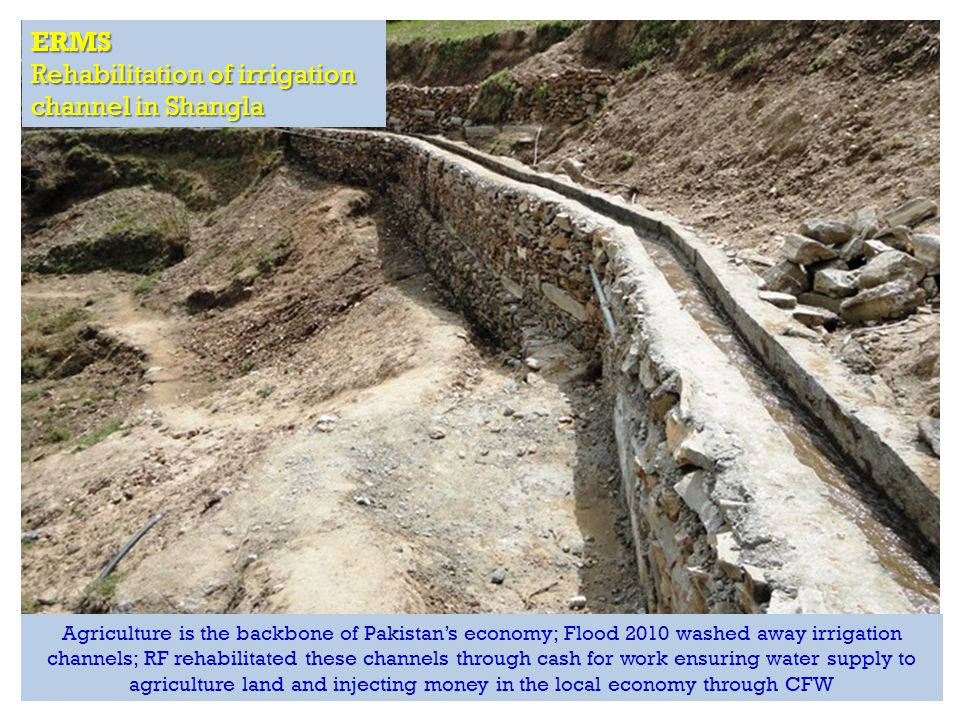 RAPID Fund presentation for Effective Development Conference, Bangkok ERMS Rehabilitation of irrigation channel in Shangla Agriculture is the backbone