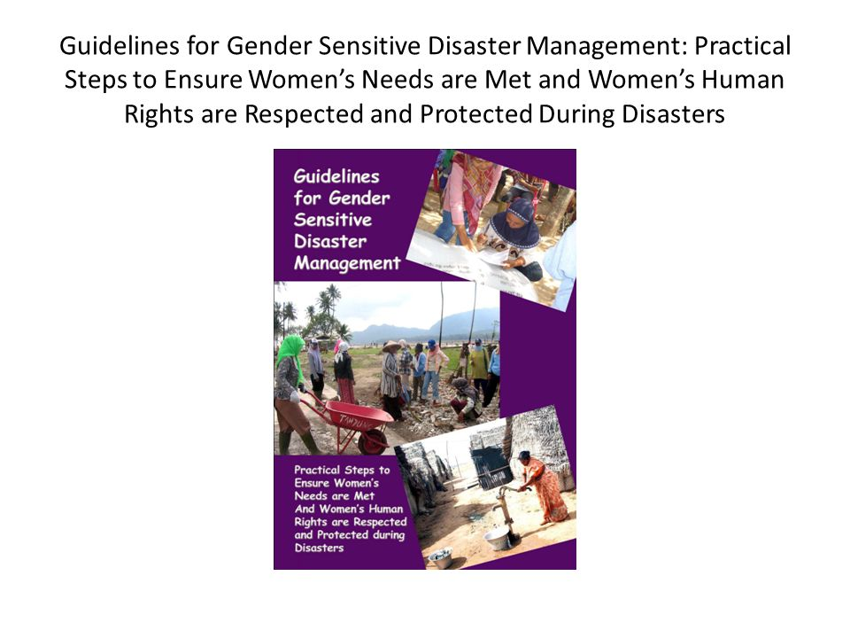 Guidelines for Gender Sensitive Disaster Management: Practical Steps to Ensure Women's Needs are Met and Women's Human Rights are Respected and Protected During Disasters