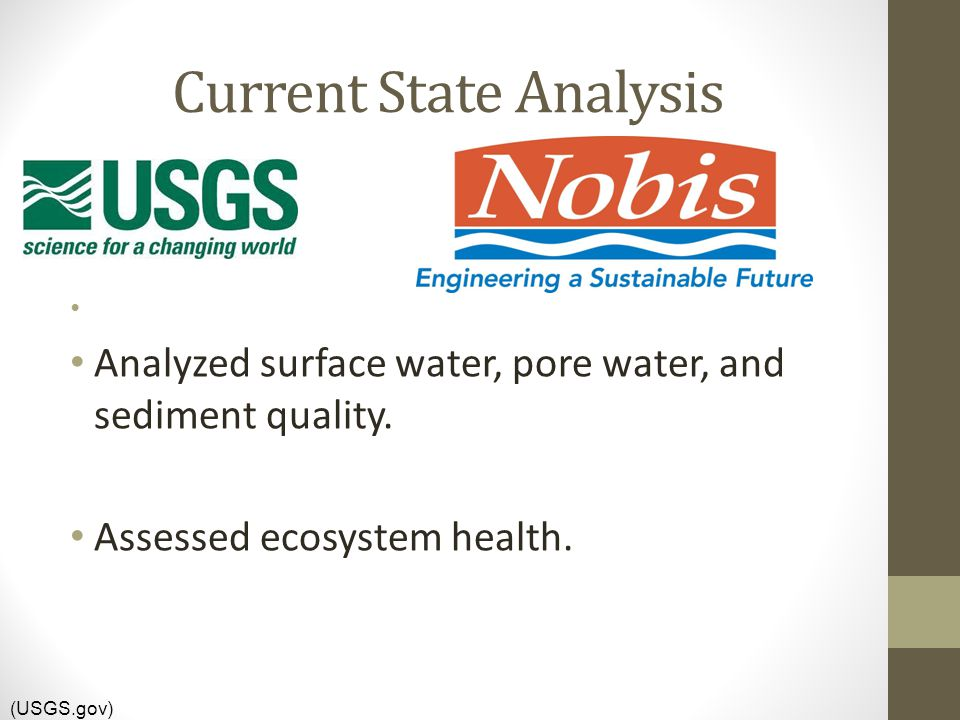 Current State Analysis Analyzed surface water, pore water, and sediment quality.