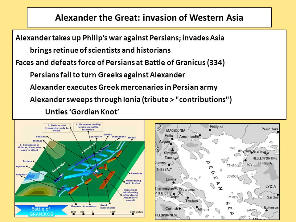 Alexander takes up Philip's war against Persians; invades Asia brings retinue of scientists and historians Faces and defeats force of Persians at Battle of Granicus (334) Persians fail to turn Greeks against Alexander Alexander executes Greek mercenaries in Persian army Alexander sweeps through Ionia (tribute > contributions ) Unties 'Gordian Knot' Alexander the Great: invasion of Western Asia