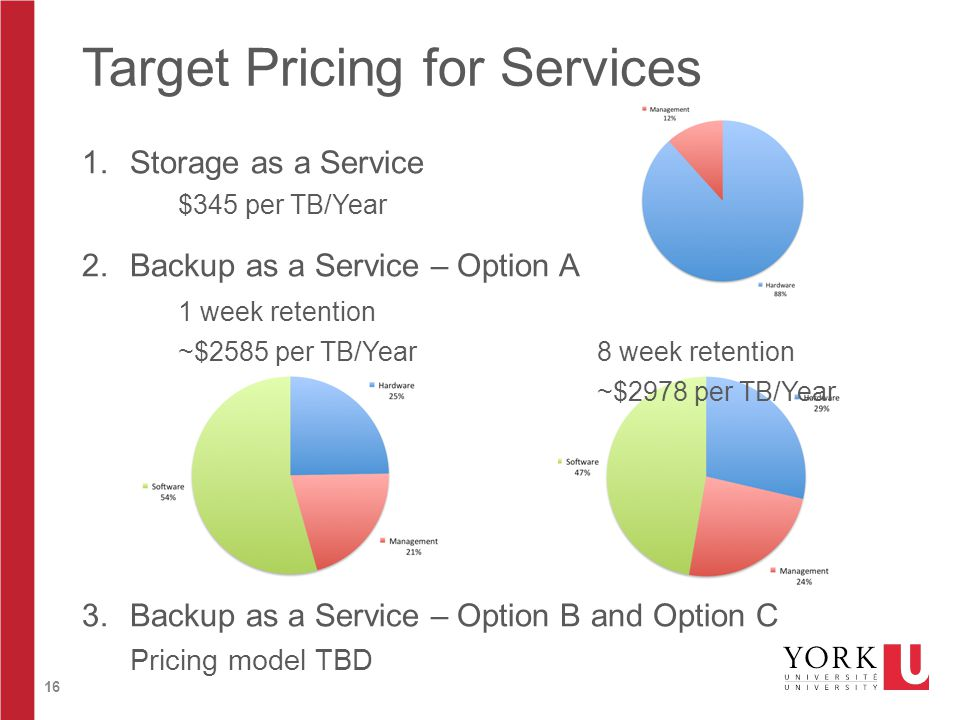 16 Target Pricing for Services 1.Storage as a Service $345 per TB/Year 2.Backup as a Service – Option A 3.Backup as a Service – Option B and Option C Pricing model TBD 1 week retention ~$2585 per TB/Year8 week retention ~$2978 per TB/Year