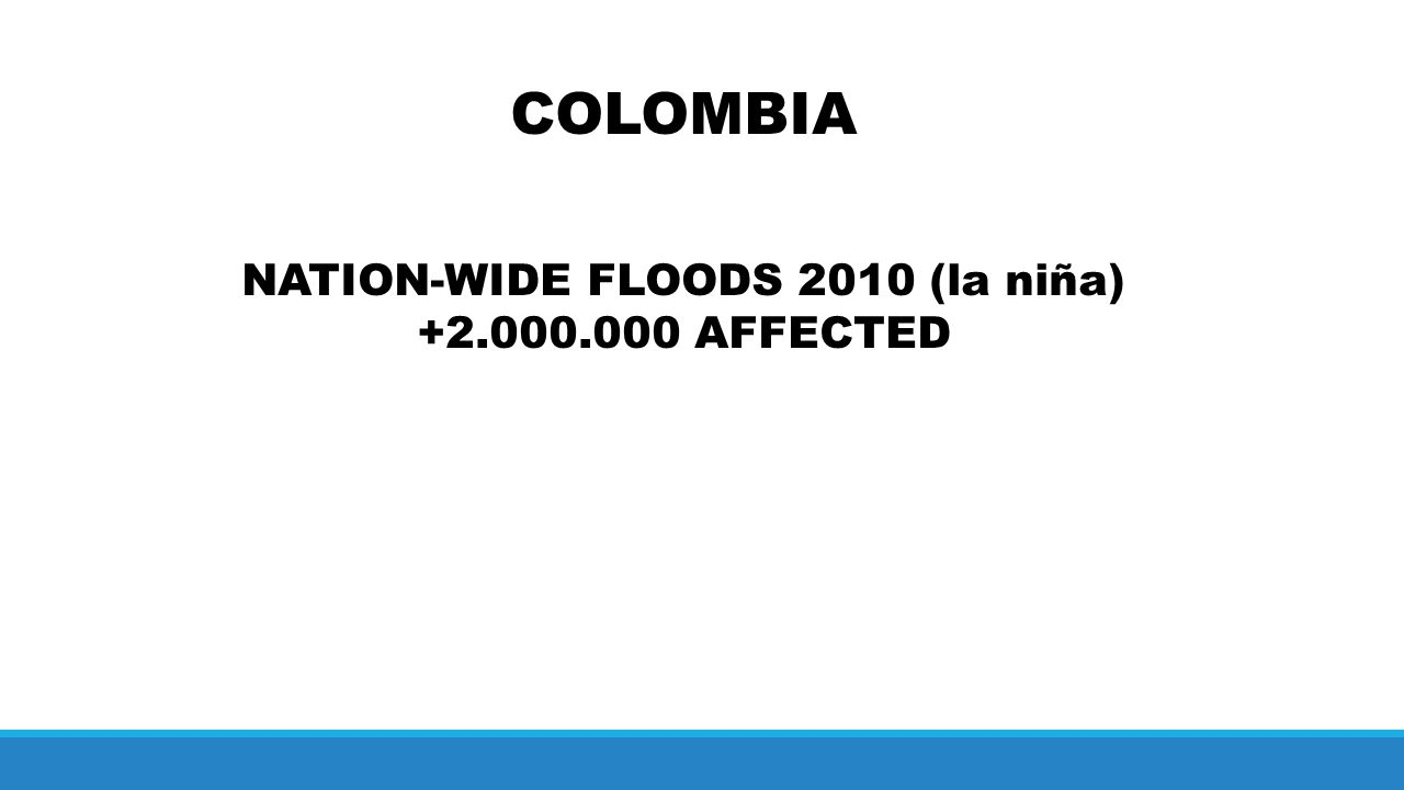 COLOMBIA NATION-WIDE FLOODS 2010 (la niña) +2.000.000 AFFECTED