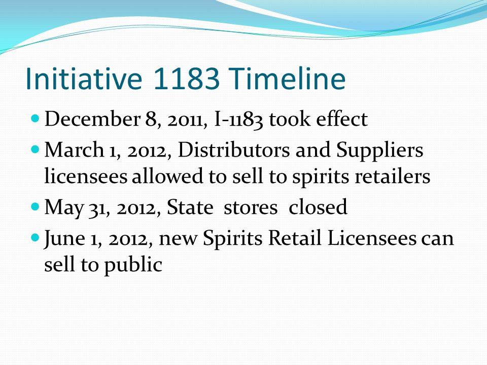 Initiative 1183 Timeline December 8, 2011, I-1183 took effect March 1, 2012, Distributors and Suppliers licensees allowed to sell to spirits retailers