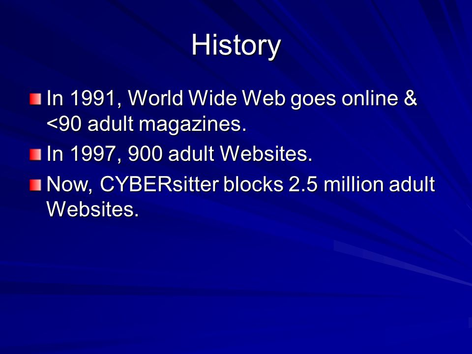 History In 1991, World Wide Web goes online & <90 adult magazines.