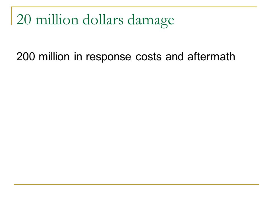 20 million dollars damage 200 million in response costs and aftermath