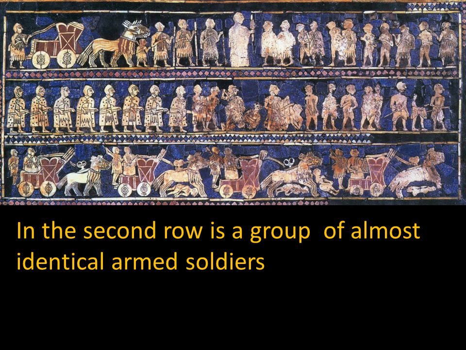 In the second row is a group of almost identical armed soldiers