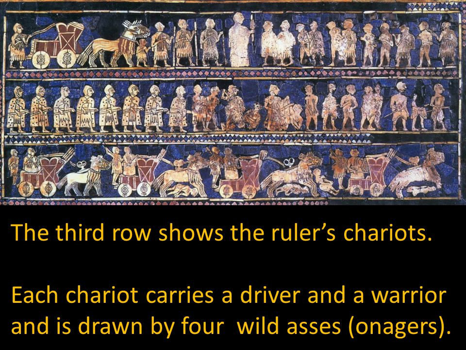 Each chariot carries a driver and a warrior and is drawn by four wild asses (onagers).