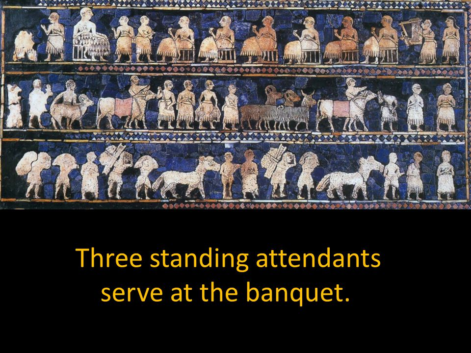 Three standing attendants serve at the banquet.