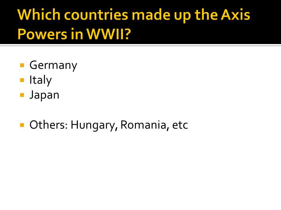  Germany  Italy  Japan  Others: Hungary, Romania, etc