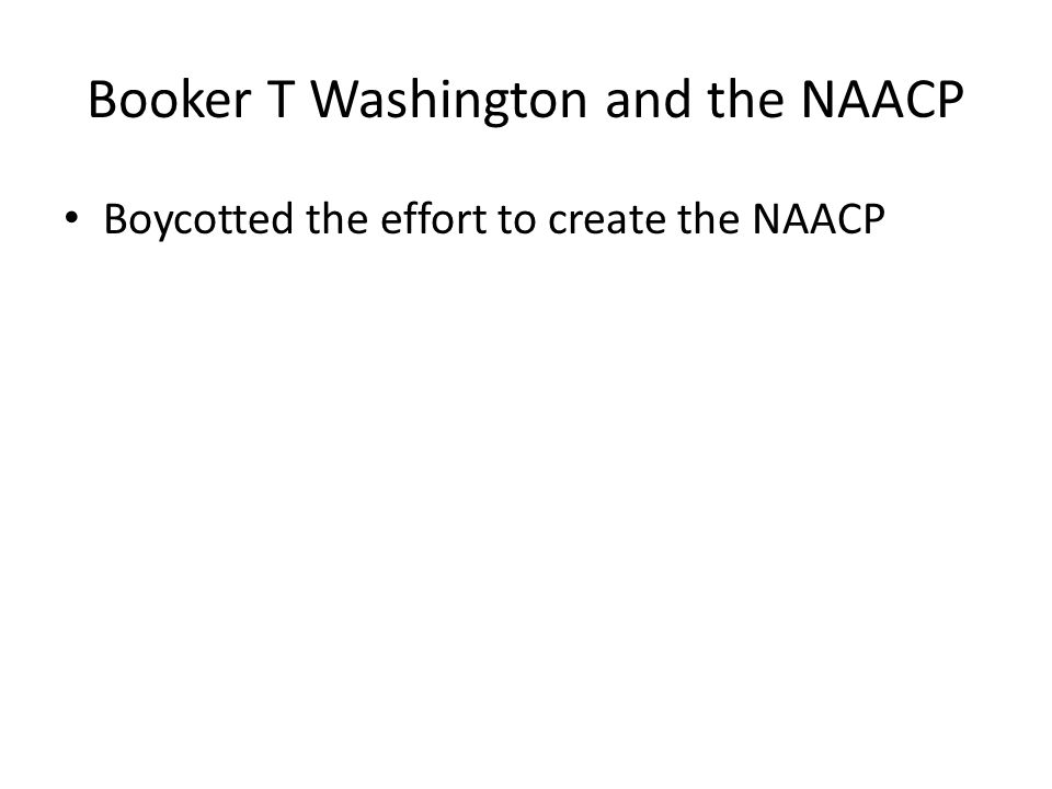 Booker T Washington and the NAACP Boycotted the effort to create the NAACP