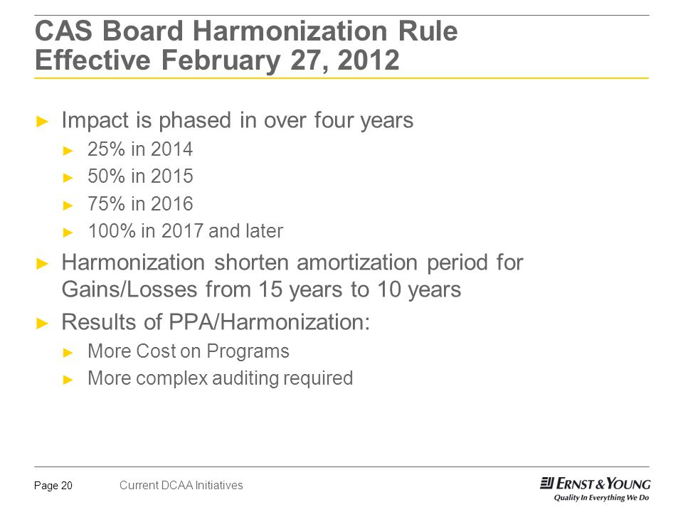 Current DCAA Initiatives Page 20 CAS Board Harmonization Rule Effective February 27, 2012 ► Impact is phased in over four years ► 25% in 2014 ► 50% in