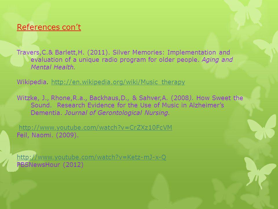 References con't Travers,C.& Barlett,H. (2011).