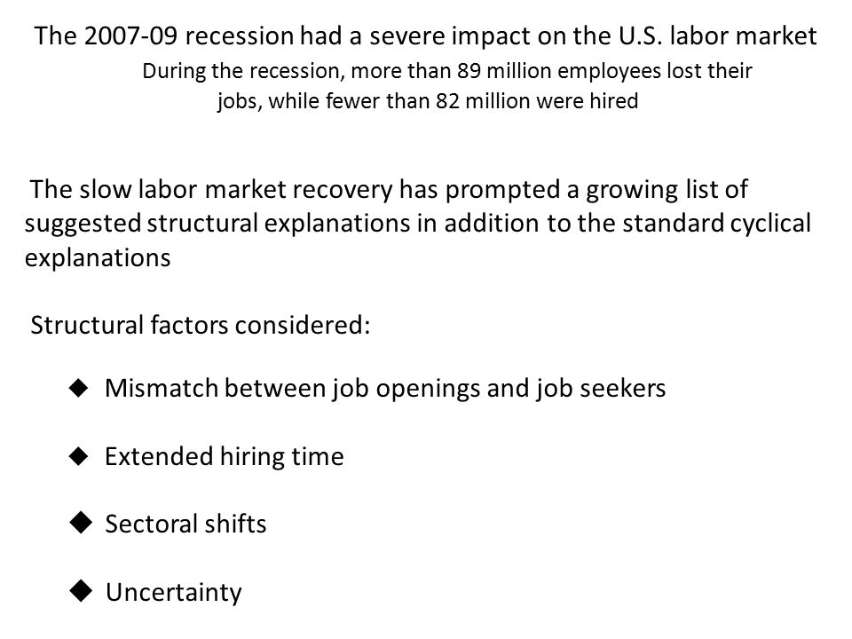 The 2007-09 recession had a severe impact on the U.S. labor market During the recession, more than 89 million employees lost their jobs, while fewer t