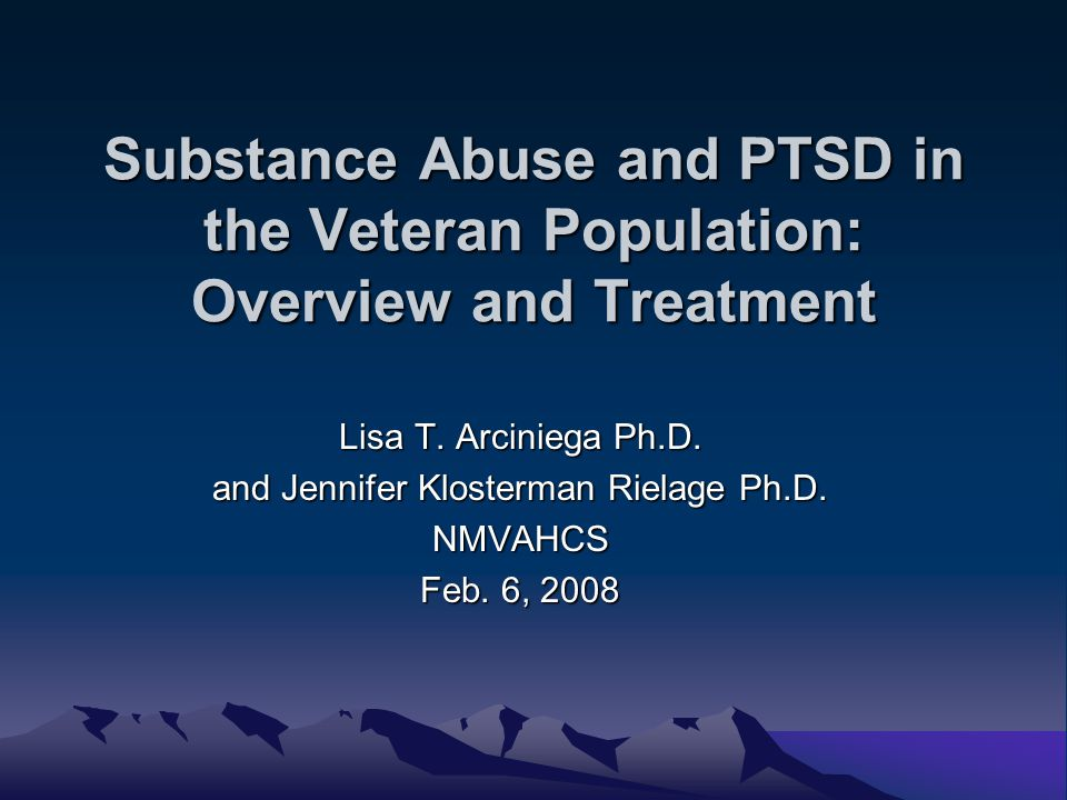 Objectives Background substance use disorders (SUD): assessment and treatment Address: the relationship between substance use disorders (SUD) and posttraumatic stress disorder (PTSD) Introduction to Seeking Safety References / Resources for further information