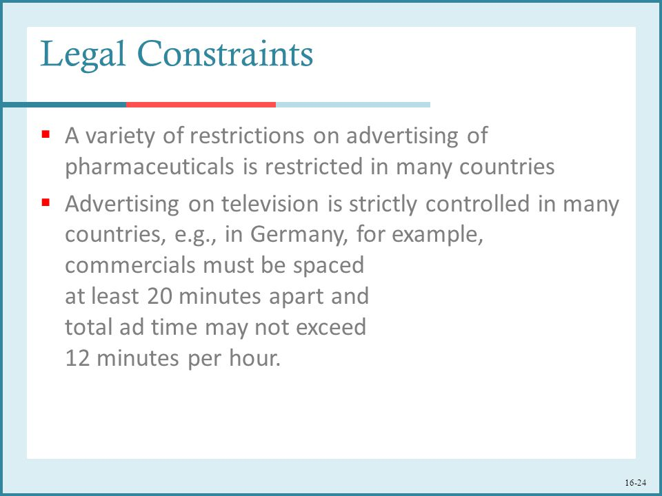 16-24 Legal Constraints  A variety of restrictions on advertising of pharmaceuticals is restricted in many countries  Advertising on television is strictly controlled in many countries, e.g., in Germany, for example, commercials must be spaced at least 20 minutes apart and total ad time may not exceed 12 minutes per hour.