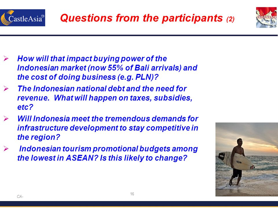 16 Questions from the participants (2) CA-  How will that impact buying power of the Indonesian market (now 55% of Bali arrivals) and the cost of doing business (e.g.
