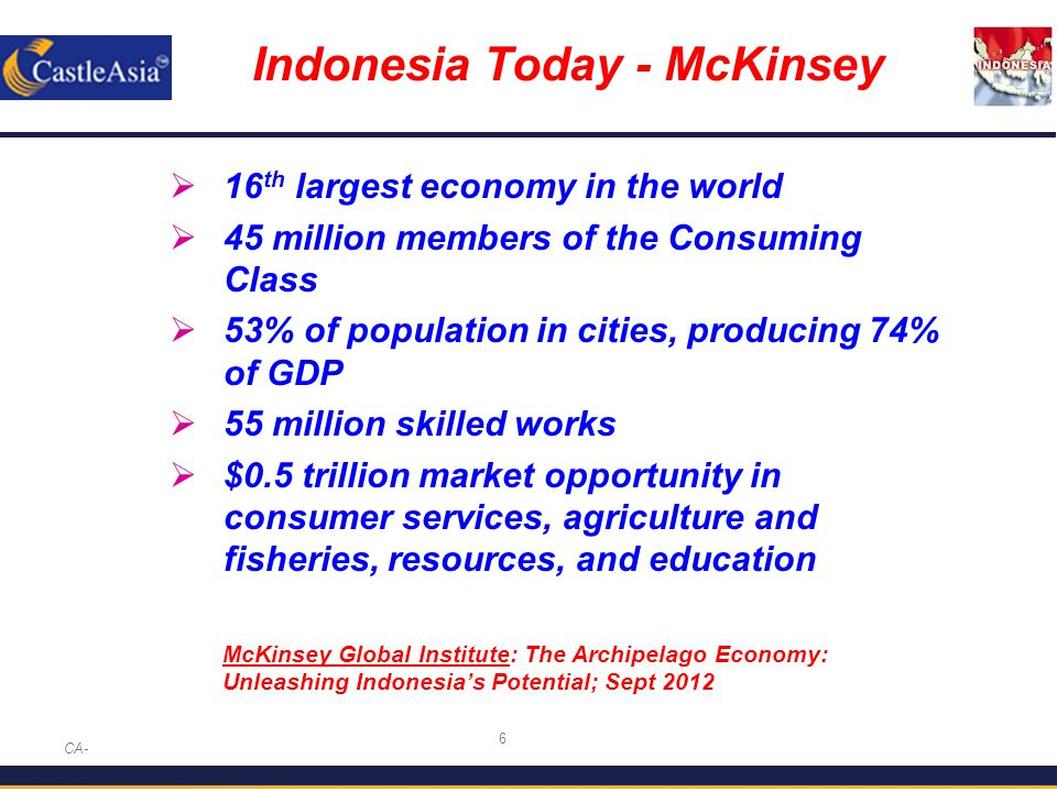 7 Indonesia in 2030 - McKinsey CA-  7th largest economy in the world  135 million members of the consuming class  71% of population in cities producing 86% of GDP  113 million skilled workers needed  $1.8 trillion market opportunity in consumer services, agriculture and fisheries, resources, and education McKinsey Global Institute: The Archipelago Economy: Unleashing Indonesia's Potential; Sept 2012