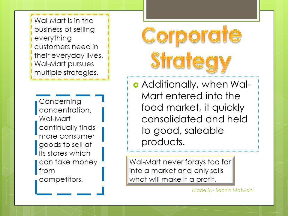  Additionally, when Wal- Mart entered into the food market, it quickly consolidated and held to good, saleable products.