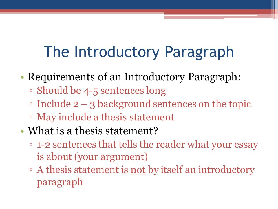 NEEd HELP WITH AN INTRODUCTORY PARAGRAPH?