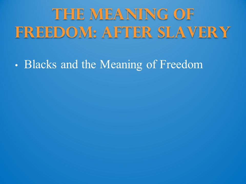 The Meaning of Freedom: Black Institutions Families in Freedom Church and School