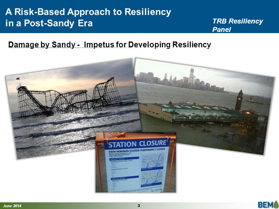 June 2014 14 A Risk-Based Approach to Resiliency in a Post-Sandy Era TRB Resiliency Panel ExposureSensitivityAdaptive Capacity Vulnerability Score Flooding/ Storm Surge Y H Extensive damage experienced due to Sandy L Little or no protection in place 4 Vulnerability Score – Asset X FEMA Flood Maps