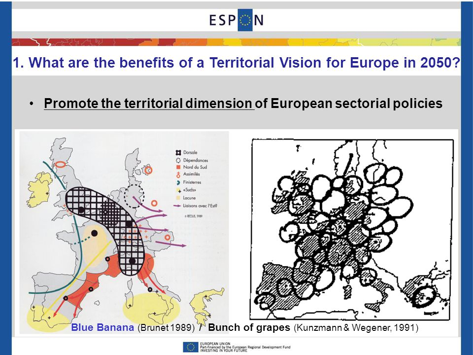 1. What are the benefits of a Territorial Vision for Europe in 2050? Promote the territorial dimension of European sectorial policies Blue Banana (Bru