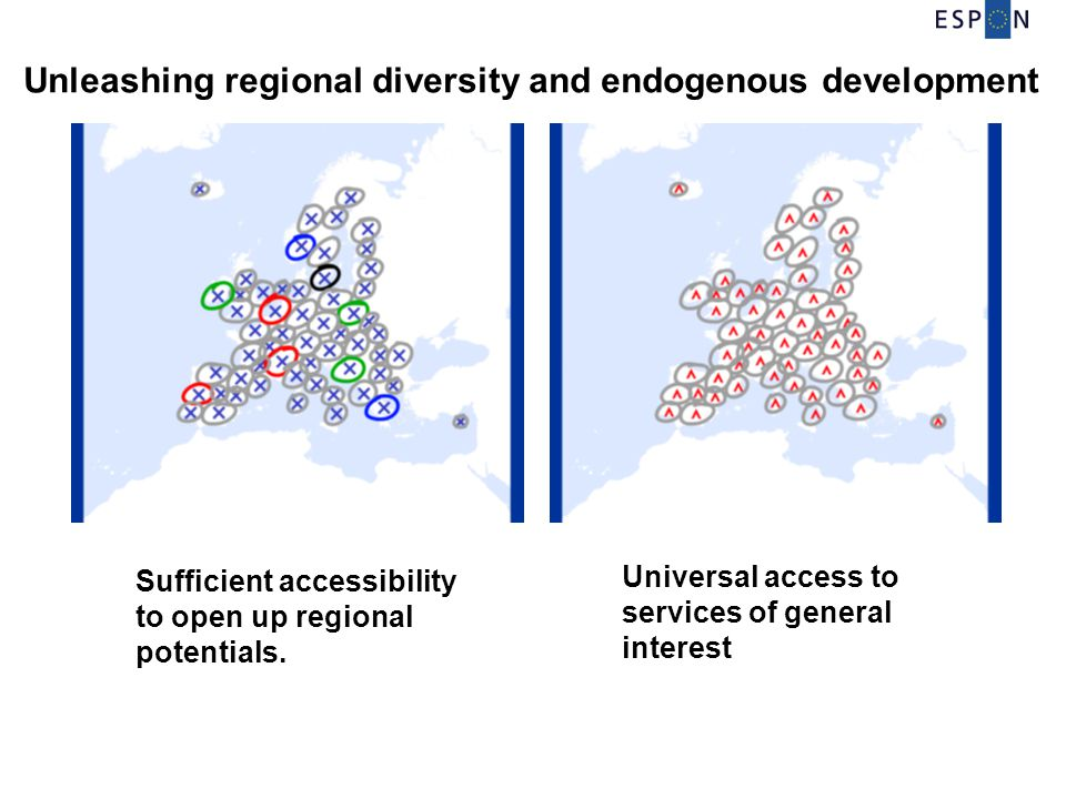 Sufficient accessibility to open up regional potentials. Unleashing regional diversity and endogenous development Universal access to services of gene