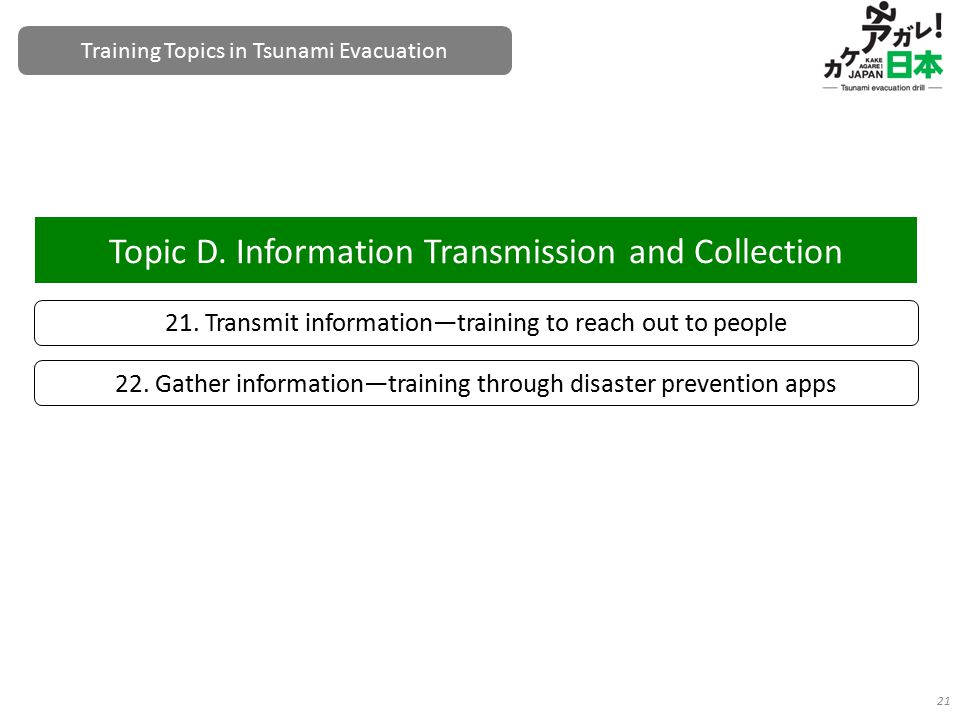 21. Transmit information—training to reach out to people Topic D. Information Transmission and Collection 21 22. Gather information—training through d