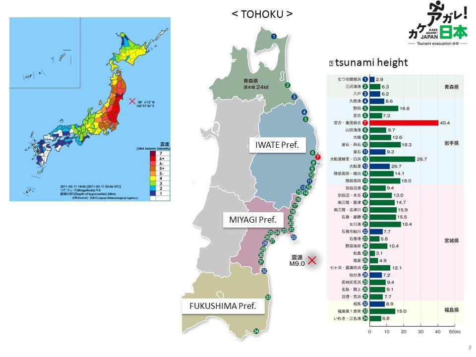 3 IWATE Pref. MIYAGI Pref. FUKUSHIMA Pref. < TOHOKU > ※ tsunami height