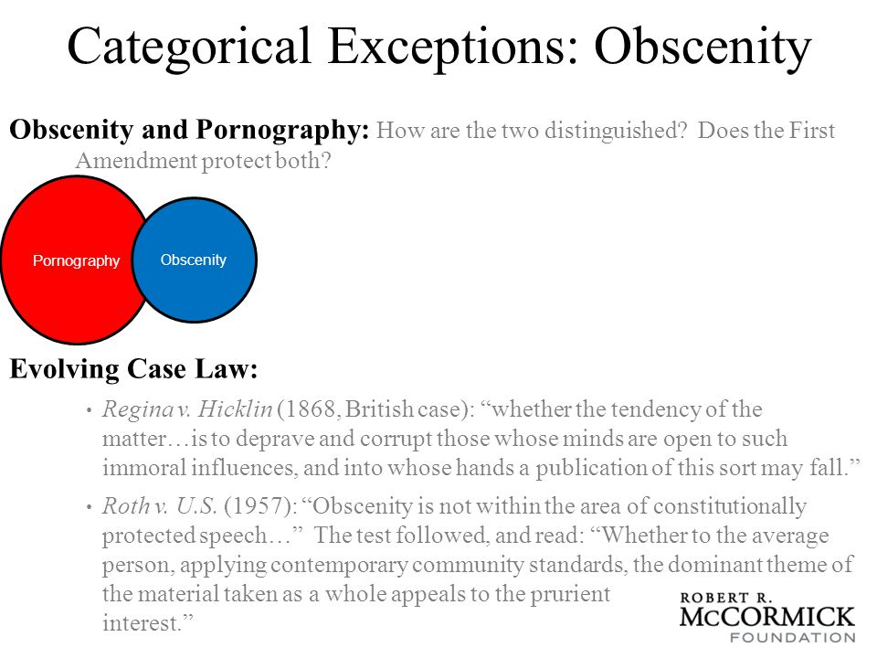 Categorical Exceptions: Obscenity Evolving Case Law: Jacobellis v.