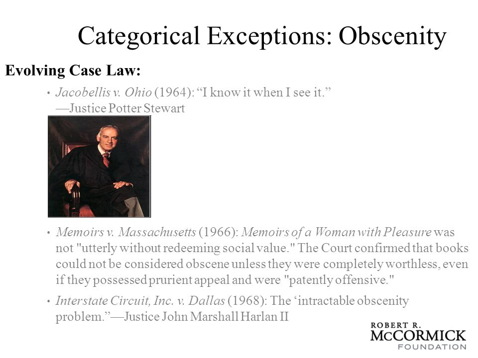 Categorical Exceptions: Obscenity Miller v.