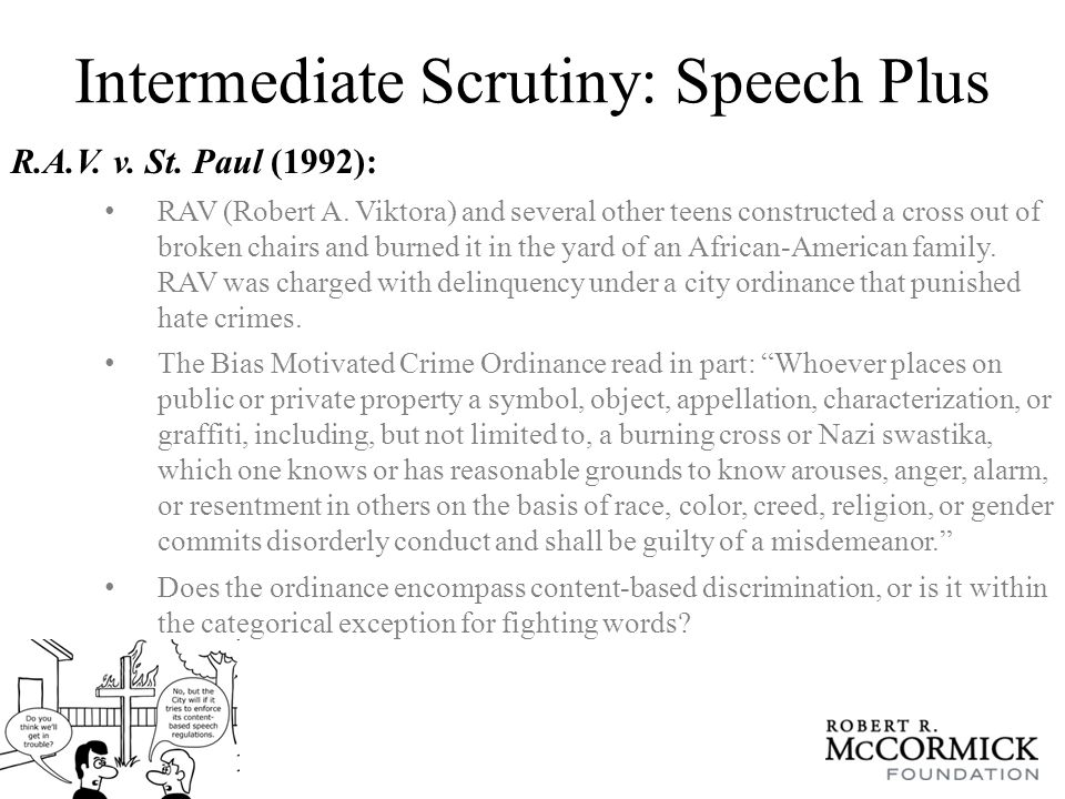Intermediate Scrutiny: Speech Plus R.A.V. v. St.