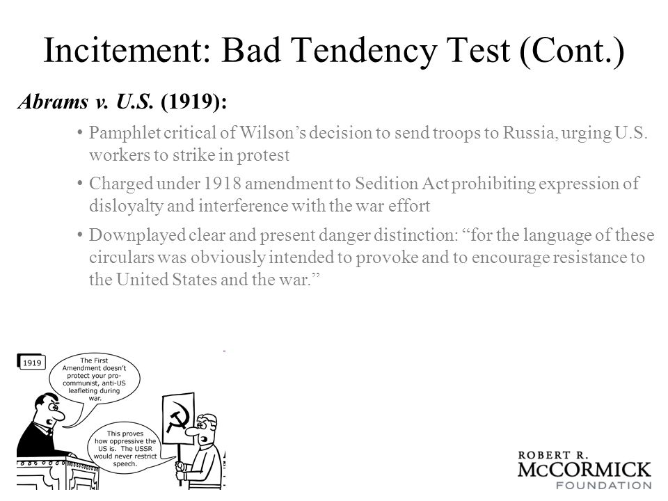 Incitement: Bad Tendency Test (Cont.) Gitlow v.