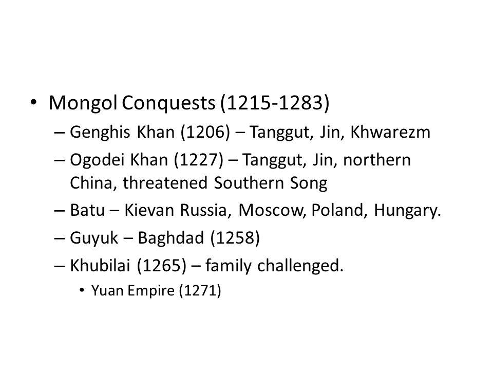 Mongol Conquests (1215-1283) – Genghis Khan (1206) – Tanggut, Jin, Khwarezm – Ogodei Khan (1227) – Tanggut, Jin, northern China, threatened Southern Song – Batu – Kievan Russia, Moscow, Poland, Hungary.