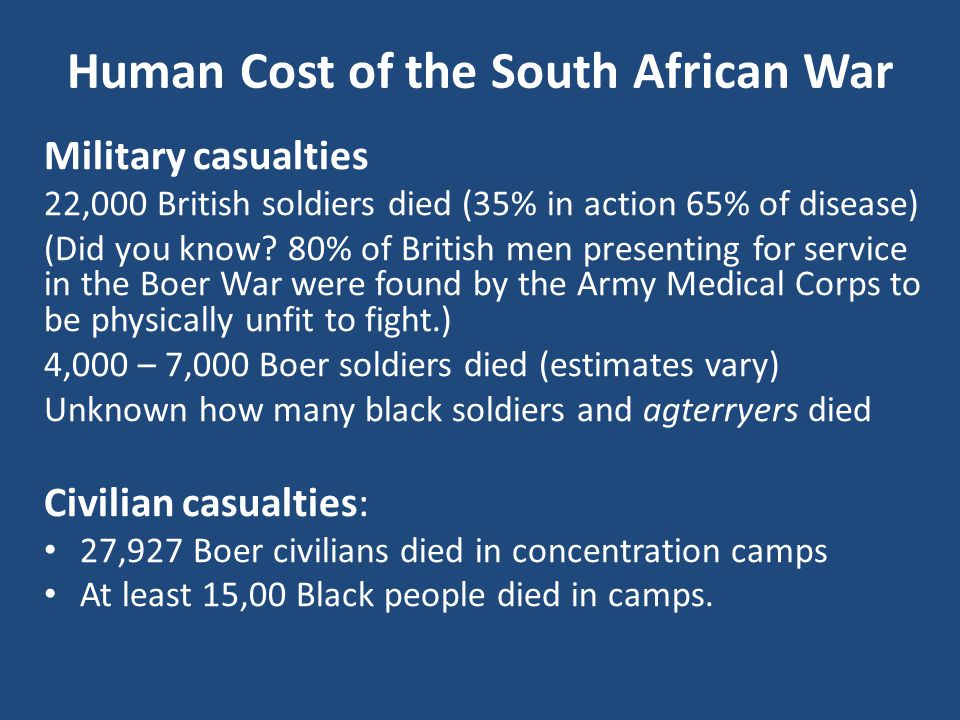 Human Cost of the South African War Military casualties 22,000 British soldiers died (35% in action 65% of disease) (Did you know.