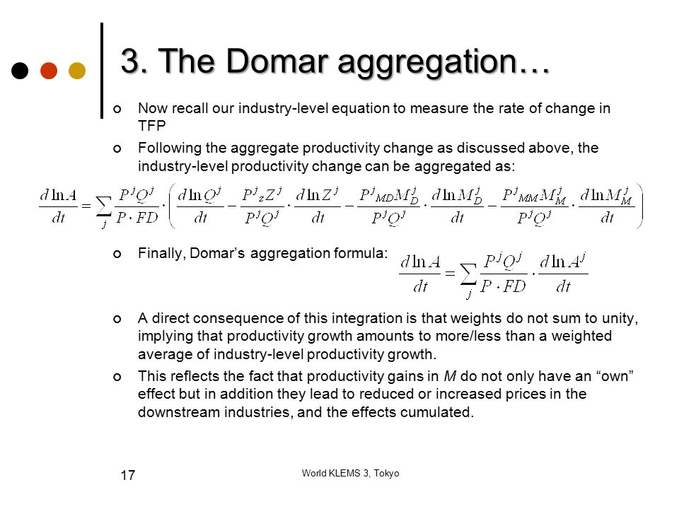 3. The Domar aggregation… Now recall our industry-level equation to measure the rate of change in TFP Following the aggregate productivity change as d
