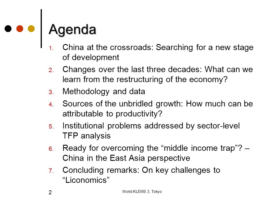 2 Agenda 1. China at the crossroads: Searching for a new stage of development 2.