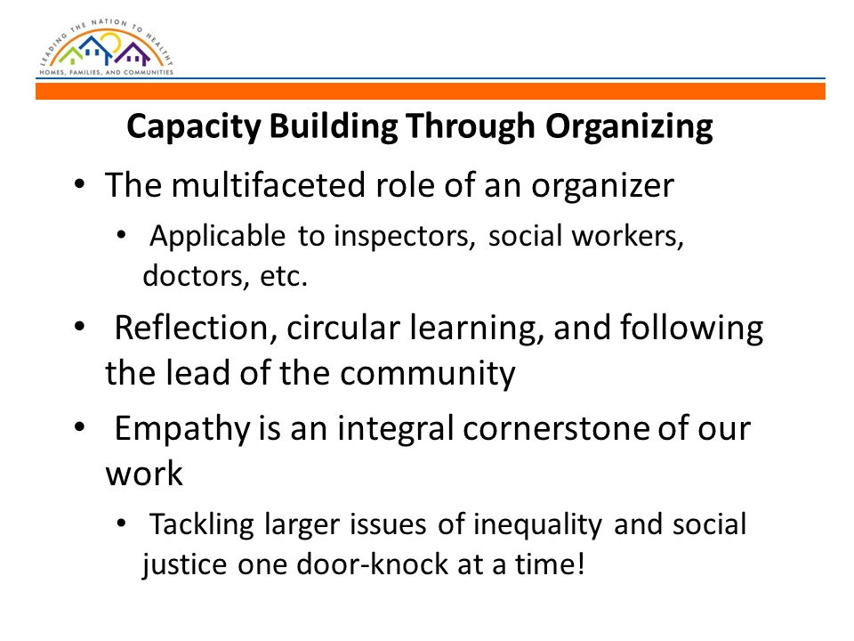 Capacity Building Through Organizing The multifaceted role of an organizer Applicable to inspectors, social workers, doctors, etc.