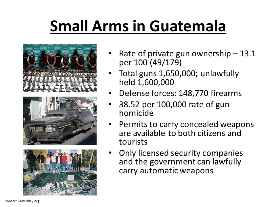 Small Arms in Guatemala Rate of private gun ownership – 13.1 per 100 (49/179) Total guns 1,650,000; unlawfully held 1,600,000 Defense forces: 148,770 firearms 38.52 per 100,000 rate of gun homicide Permits to carry concealed weapons are available to both citizens and tourists Only licensed security companies and the government can lawfully carry automatic weapons Source: GunPolicy.org