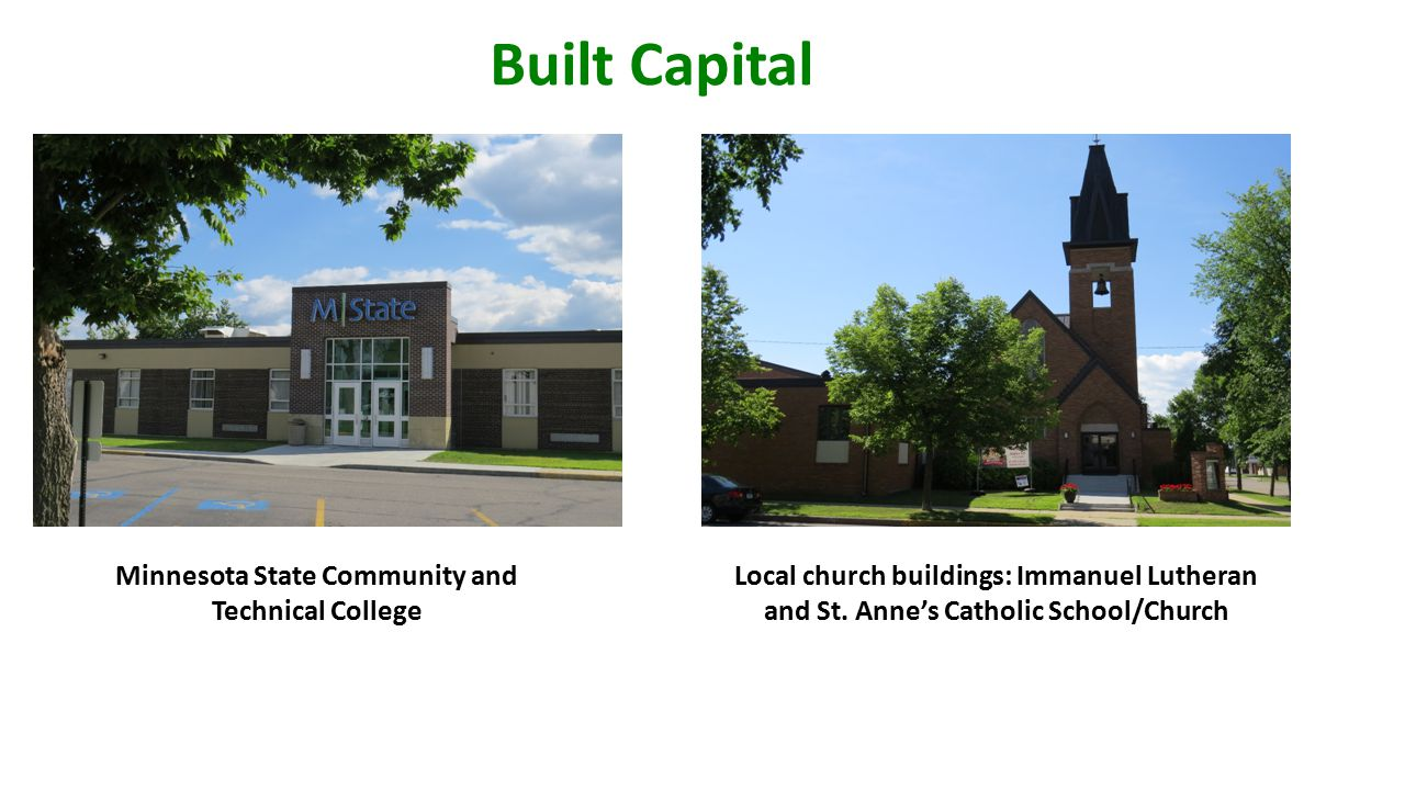 Built Capital Minnesota State Community and Technical College Local church buildings: Immanuel Lutheran and St.