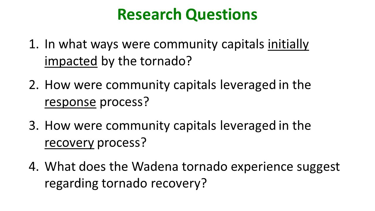 Case Study Research Methods Interviews: city officials, organizational leaders, and community residents.