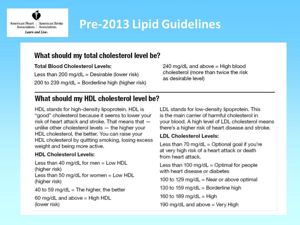 Pre-2013 Lipid Guidelines