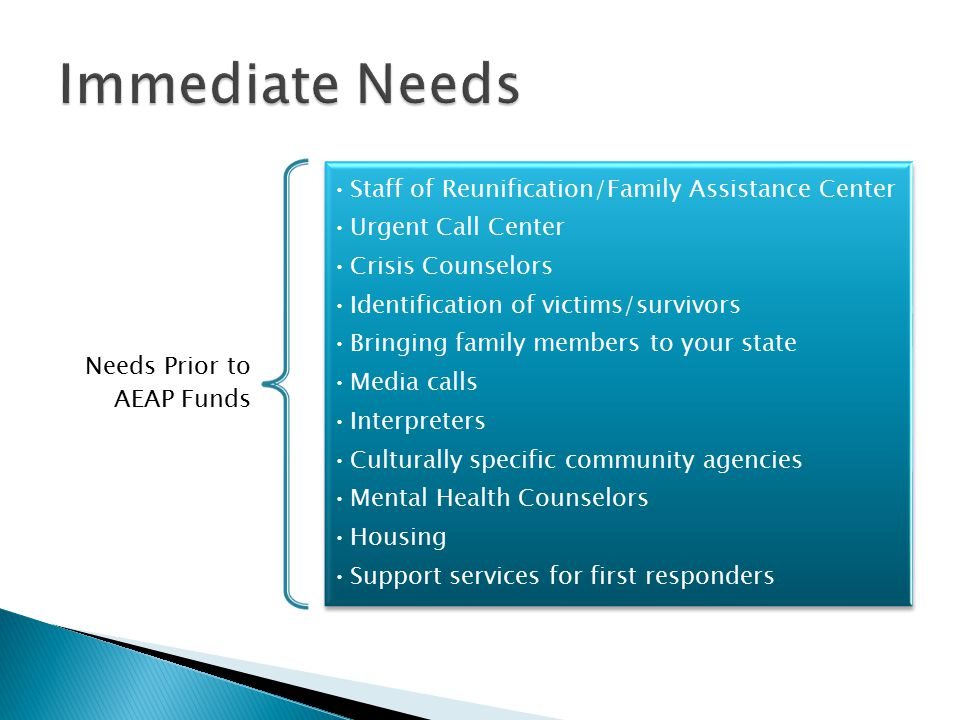 Needs Prior to AEAP Funds Staff of Reunification/Family Assistance Center Urgent Call Center Crisis Counselors Identification of victims/survivors Bringing family members to your state Media calls Interpreters Culturally specific community agencies Mental Health Counselors Housing Support services for first responders