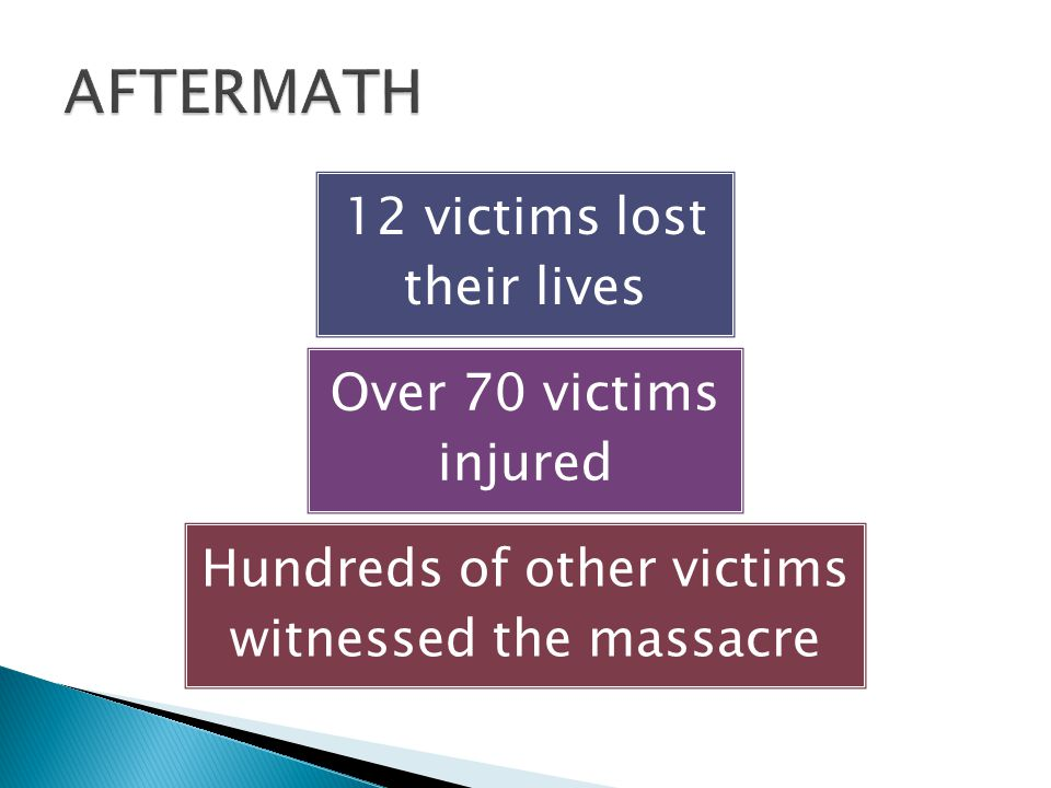 12 victims lost their lives Over 70 victims injured Hundreds of other victims witnessed the massacre