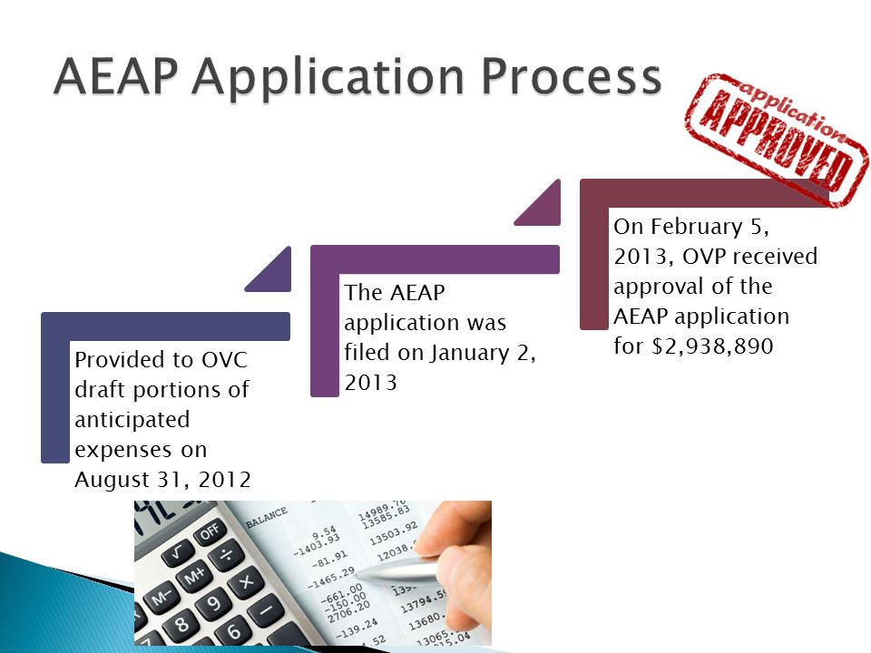 Provided to OVC draft portions of anticipated expenses on August 31, 2012 The AEAP application was filed on January 2, 2013 On February 5, 2013, OVP received approval of the AEAP application for $2,938,890