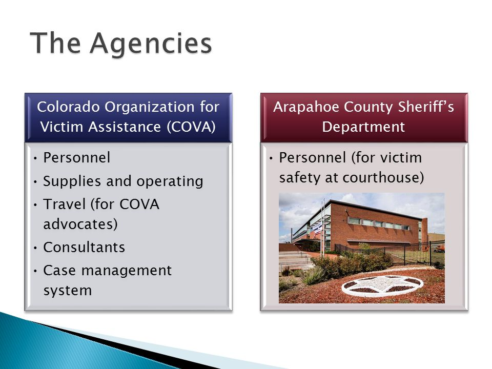Colorado Organization for Victim Assistance (COVA) Personnel Supplies and operating Travel (for COVA advocates) Consultants Case management system Arapahoe County Sheriff's Department Personnel (for victim safety at courthouse)