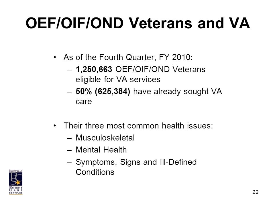 OEF/OIF/OND Veterans and VA As of the Fourth Quarter, FY 2010: –1,250,663 OEF/OIF/OND Veterans eligible for VA services –50% (625,384) have already sought VA care Their three most common health issues: –Musculoskeletal –Mental Health –Symptoms, Signs and Ill-Defined Conditions 22