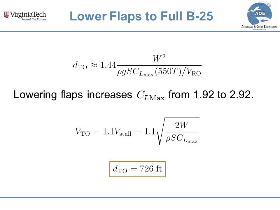 Lower Flaps to Full B-25 Lowering flaps increases C LMax from 1.92 to 2.92.