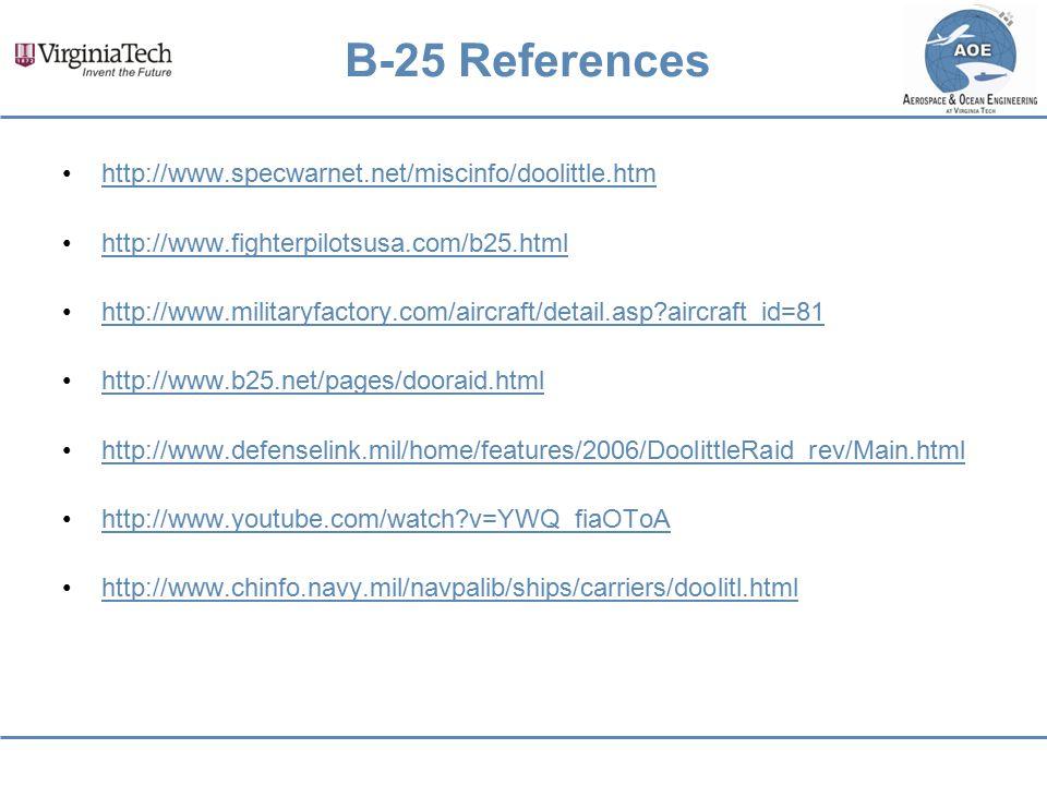 B-25 References http://www.specwarnet.net/miscinfo/doolittle.htm http://www.fighterpilotsusa.com/b25.html http://www.militaryfactory.com/aircraft/deta