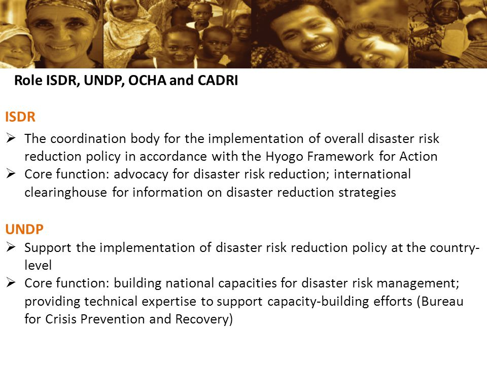 Role ISDR, UNDP, OCHA and CADRI ISDR  The coordination body for the implementation of overall disaster risk reduction policy in accordance with the Hyogo Framework for Action  Core function: advocacy for disaster risk reduction; international clearinghouse for information on disaster reduction strategies UNDP  Support the implementation of disaster risk reduction policy at the country- level  Core function: building national capacities for disaster risk management; providing technical expertise to support capacity-building efforts (Bureau for Crisis Prevention and Recovery)